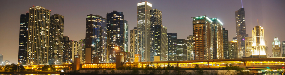 """Chicago downtown cityscape panorama in the night"""